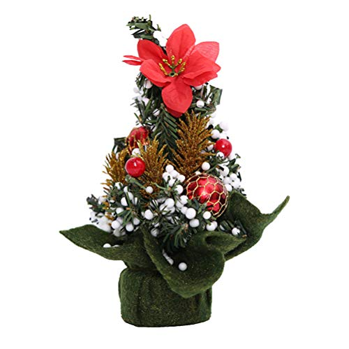 Keemov 20CM Mini Árbol de Navidad Decoración de Escritorio Artificial Mesa Árbol de Navidad Verde Decoraciones para Interior Fiesta