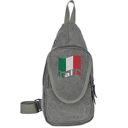Rucksack mit Italienischer Flagge, Canvas, für Camping, Reise, Rucksack, für Jungen und Mädchen, Schwarz