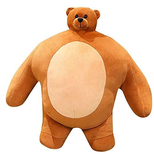 QIRU Tiny Headed Kingdom Bear,Hugging Cute Tiny Head Bear with Big Body,Tiny Head Bear Pillow,Small Head Muscle Body Boyfriend Hug Pillow Cushion Birthday Gift(47cm) (A)