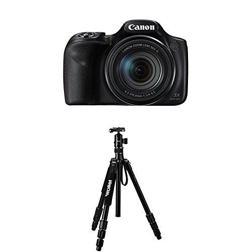 Canon PowerShot SX540 HS Digitalkamera (20,3 Megapixel CMOS-Sensor, 50-fach Ultrazoom, 100-fach ZoomPlus, WiFi, Full HD) schwarz+Rollei C5i Schwarz Aluminium