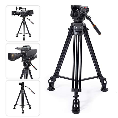 TARION TR-VT77 Camera Tripod Fluid Drag Head Tripod Full Panoramic View 360 1/4' & 3/8' Quick Release Plate DSLR Photography Studio Professional Heavy Duty Tripod for Comcorder Video