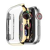 Deng Xuna für Apple Watch 40mm/Apple Watch 44mm Hülle,Kratzfeste Ultra Schlank Displayschutz All-Around Hülle für Apple Watch Serie 4 Smartwatch (Apple Watch 4 40mm, Gold)