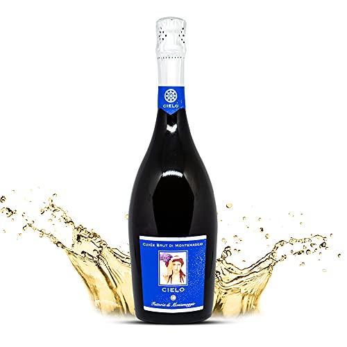 Il Cielo di Montemaggio Schaumwein - Cuvee Brut - Extra Trocken - Sekt - 100% Chardonnay - Luxuriöser Edler Bio-Wein aus Italien - Fattoria di Montemaggio - 0.75L - 1 Flasche