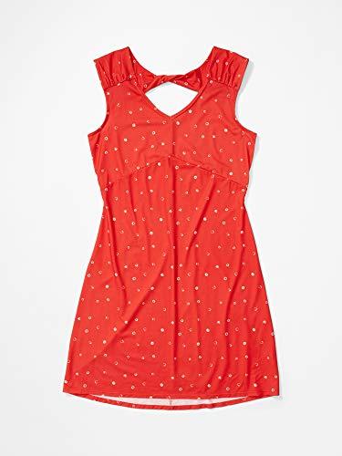 Marmot Wm's Annabelle Dress Robe mi Longue été, avec Bretelles, Protection UV, Respirante, séchage Rapide Femme, Victory Red Polkadot, FR (Taille Fabricant : XS)