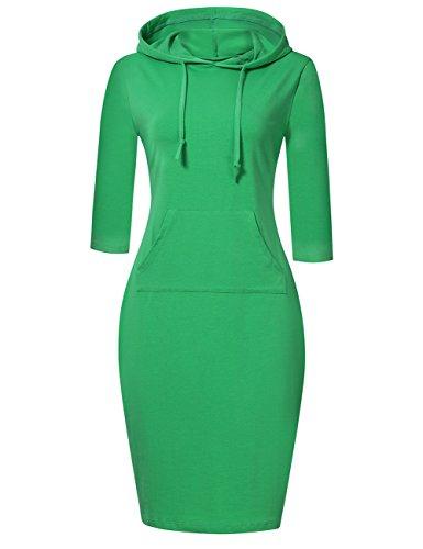 MISSKY Women 3 4 Sleeve Pocket Slim Green Sweatshirt Pullover Hoodie Dress (L,Green)
