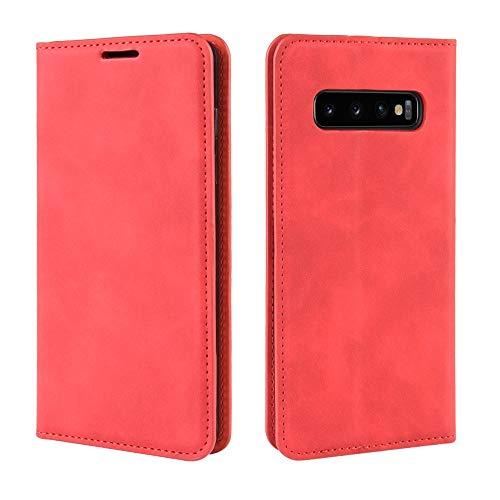 Zhangl beschermhoes van leer, met zuignap, magnetisch, met handtas, retro kin, Business voor de Galaxy S10, Chinese Red