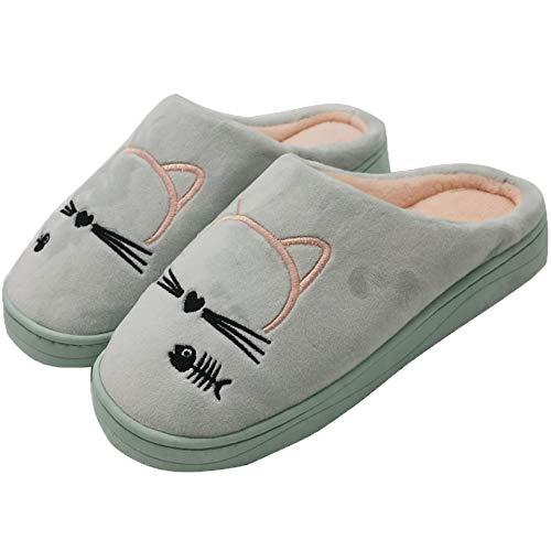 GAXmi Pantuflas Gato Mujer Hombre Zapatillas de Estar por Casa Invierno Caliente Suave Interior Antideslizantes Azul Claro 35/36 EU (Tamaño de la Etiqueta 36/37)