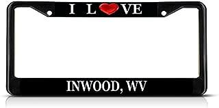 Sign Destination Metal Insert License Plate Frame I Love Heart Inwood, Wv Weatherproof Car Accessories Black 2 Holes Solid Insert Set of 2