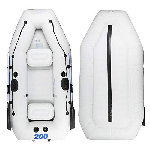 Bote inflable, kayak inflable para 3 personas, bote de remos inflable de PVC, bote de balsa inflable con 2 remos, bomba, soporte de carga de 300 kg, para fiesta, piscina, buceo a la deriva, surf