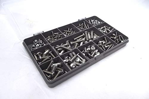 270 Various M3, M4 & M5 Allen Socket Button Head Machine Screws/Bolts, A2-70 Stainless Steel