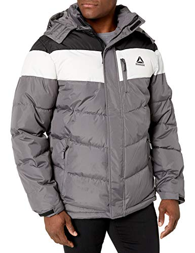 Reebok Men's Heavy Weight Hooded Bubble Jacket, Power Black/White/mid Grey, X-Large