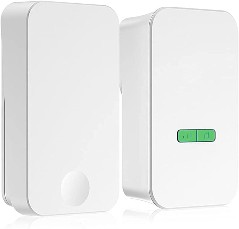 Timbre inalámbrico Timbre con control remoto Timbre electrónico, volumen de 5 niveles ajustable, 36 tonos de llamada, hasta 100 decibelios, cobertura de señales multidireccional, adecuado para hogares
