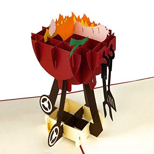 PaperCrush® Pop-Up Karte Grill - 3D Geburtstagskarte für Ihn, Männer Geschenkkarte zur Grillsaison, Lustiges Grillgeschenk - Besondere Glückwunschkarte für Papa, besten Freund oder 18. Geburtstag