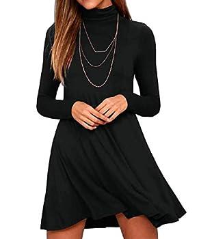 KEEDONE Women s Long Sleeve Turtleneck Casual Loose T-Shirt Dresses  M Black