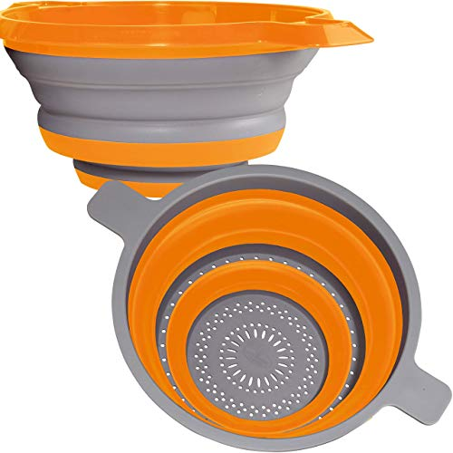 Kitchen Maestro Collapsible Silicone Colander/Strainer. Includes 2 Sizes 8 and 9.5 inch. ... (Orange)
