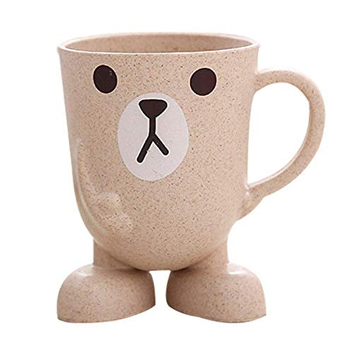 LLAAIT tarwe stro Cartoon dier tandenborstel Cup badkamer Tumbler mondwater reizen tandenborstel houder Cup badkamer accessoires, Beige