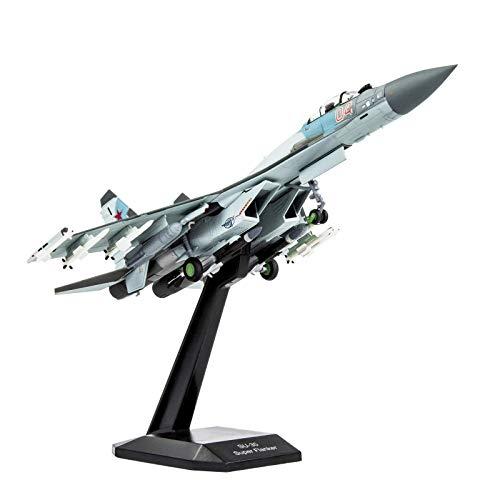 Lose Fun Park 1:100 SU-35 Fairchild Republic Metal Model Airplanes Diecast Military Plane Model with Stand Blue