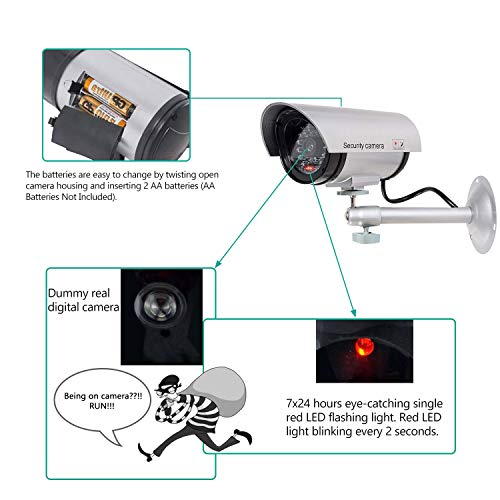 WALI Bullet Dummy Fake Surveillance Security CCTV Dome Camera Indoor Outdoor with 30 Illuminating LED Light and Security Alert Sticker Decals (S30-1), Silver