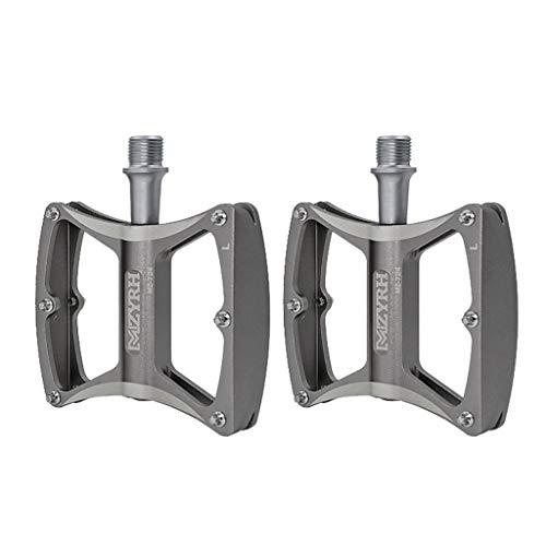 dailymall 1 Par de Pedales de Bicicleta Universales con Clavos Antideslizantes para Bicicleta BMX Road MTB 9/16'- Aleación de Aluminio CNC Ligera - Gris, 85 x 97 x 20 mm
