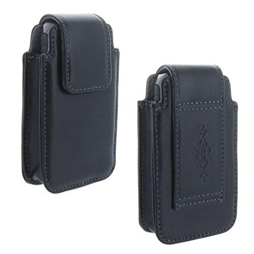 XiRRiX Leder Handy Gürteltasche - Tasche kompatibel mit Seniorenhandy AEG Voxtel M250 / artfone cf241 a/Doro 613 / Panasonic KX TU 465 TU466 / Swisstone BBM 320 320c - schwarz