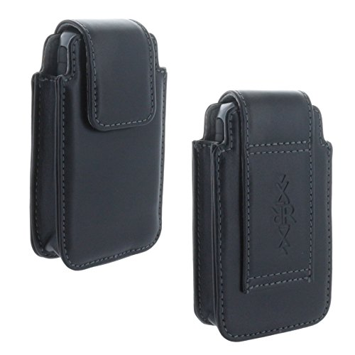 XiRRiX Leder Handy Gürteltasche für Seniorenhandy Tasche passend für Doro 613 - Panasonic KX TU 465 TU466 - Swisstone BBM320 - schwarz
