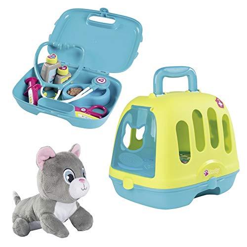 Smoby Tierarzt-Spielset im Koffer, 2-in-1 Spielkoffer mit Arzt Zubehör und Katzen-Transportbox, inklusive miauender Stoffkatze, für Mädchen und Jungen ab 3 Jahren