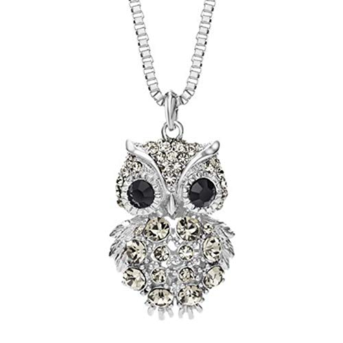 KnBob Pendant Necklace Silver Lovely Owl Cubic Zirconia Necklace Silver Plated for Women