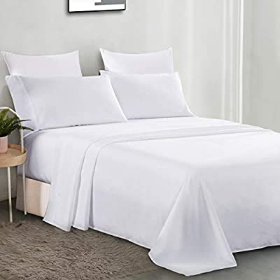 David's Home Brushed Microfiber Bed Sheet Set King Size - Soft and Wrinkle Resistant Set - 4PCS Bed Sheet with Deep Pocket Fitted Sheet, Flat Sheet, 2 Pillowcases - White