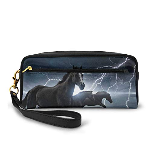 Yuanmeiju Running Black Horses with Lightning Small Makeup Bags Purse PU Leather Travel Cosmetic Pouch Simple Pencil Pouches