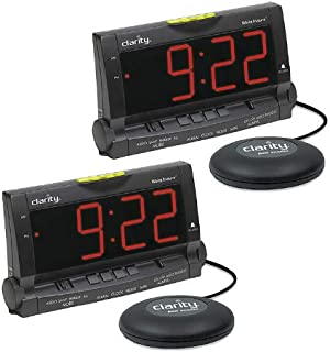 Alarm Clock with Bed Shaker and Lamp Flasher- Packs (2 Pack)