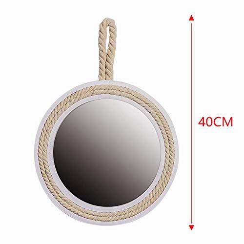 QTMHT muur make-up spiegel retro ronde met hennep touw ijdelheid spiegel ijdelheid scheren ronde massief hout frame dressing cosmetische spiegel