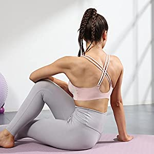 Strappy Sports Bra for Women Lively Crisscross Support Pink Bra Removable Cups