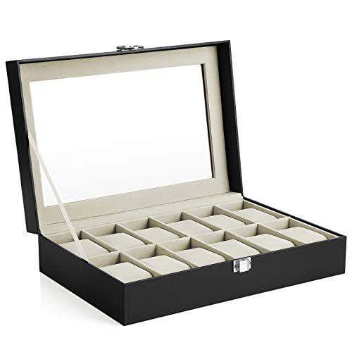 SONGMICS Caja de Relojes con 12 Compartimentos, Estuche para Relojes con Tapa...