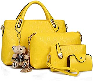 4PCs Classical Shoulder Bag Set with Large Capacity Multi-function Leather Yellow Tote Bags