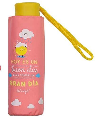 Mr.Wonderful - Paraguas Plegable Manual | Paraguas Antiviento Pequeño y Compacto Ideal para Viajes, Mujer - Rosa