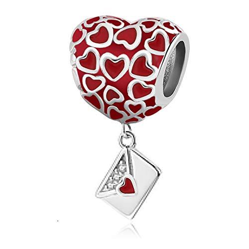 UNIQUEEN Valentine's Day Love Letter Love Heart Charm fit Pandora Charm Necklace Bracelet for Women