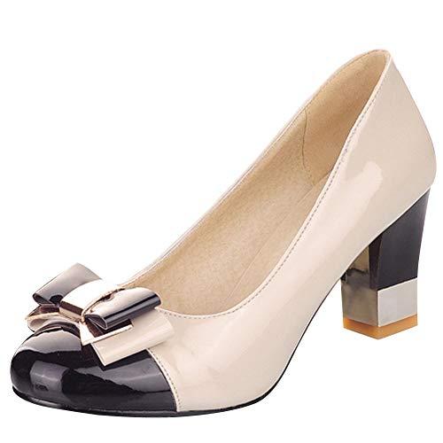 OUWANG Damen Chunky Heels zweifarbig Schleifen Slip on Pumps(39 EU,Schwarz)