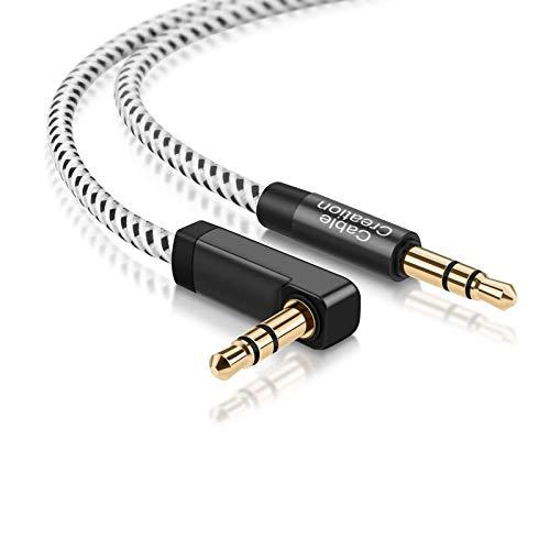 CableCreation 3,5mm Aux-Kabel, 0.5m Kurzes 3,5mm Audio Kabel Kompatibel mit Telefonen, PCs, Tablets, TaoTronics-Adaptern, Autos und Lautsprechern usw. 24K Gold Plated/Schwarz&weiß