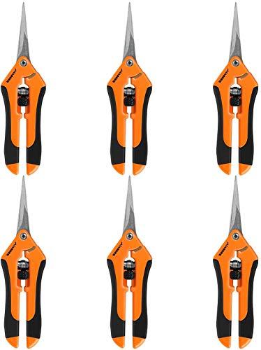 VIVOSUN 6-Pack Gardening Hand Pruner Pruning Shear with Straight Stailess Steel Blades,...