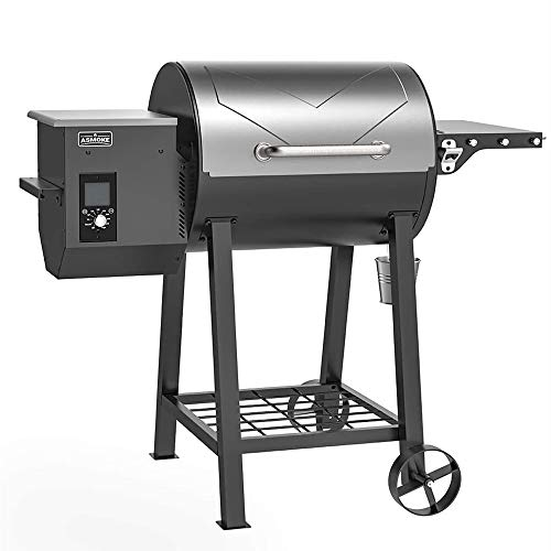 ASMOKE Wood Pellet Grill and Smoker, 465 Cooking Area 8 in 1 BBQ Grill, Advanced Grill System and Patented Safety Design, Temperature Range 180℉ to 500℉, includes Waterproof Cover, Meat Probe and More