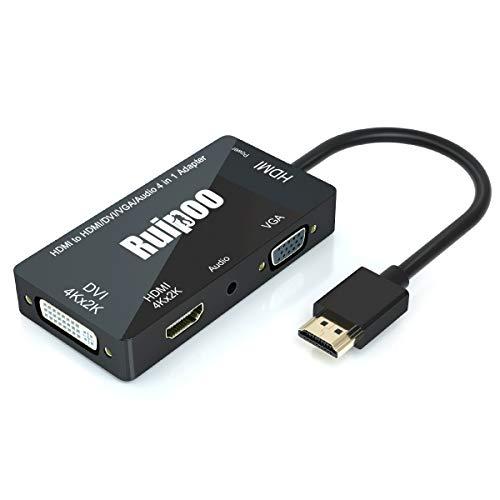 HDMI auf VGA Adapter,4K HDMI zu HDMI / DVI / VGA Adapter 4 in 1 mit 3,5 mm Audio und Micro USB Kabel Multiport HDMI Konverter zum Anschließen von Computer, Laptop, PC, Monitor-Schwarz