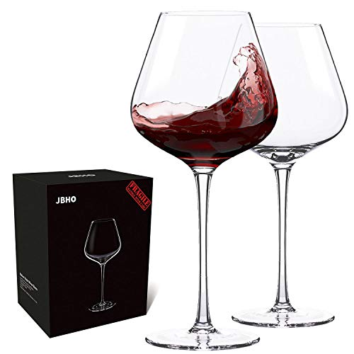Hand Blown Italian Style Crystal Burgundy Wine Glasses - Lead-Free Premium Crystal Clear Glass - Set of 2 - 21 Ounce - Gift-Box for any Occasion