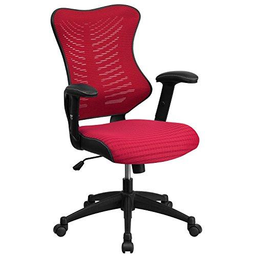Flash Furniture High Back Designer Burgundy Mesh Executive Swivel Ergonomic Office Chair with Adjustable Arms