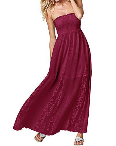 ACHIOOWA Mujer Vestido Cuello Palabra Encaje Punto Falda Sin Manga Playa Boda Suelto Elegante Dress Rojo-Vino L