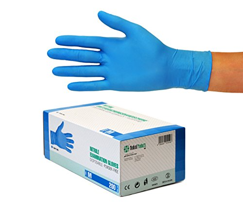 Nitrilhandschuhe 200 Stück Box (M, Blau) Einweghandschuhe, Einmalhandschuhe, Untersuchungshandschuhe, Nitril Handschuhe, puderfrei, ohne Latex, unsteril, latexfrei, disposible gloves, blue