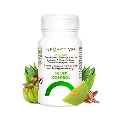 NeoFD Control | Suplemento con L-Teanina, 5-Hidroxitriptófano, Garcinia cambogia y cromo | Ayuda a mantener niveles normales glucosa en sangre y al metabolismo de macronutrientes | 30 Capsulas