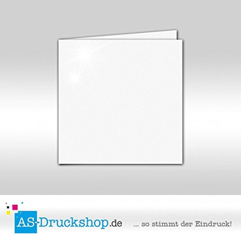 Faltkarte - Weiss - mit Perlmutt-Glanz 50 Stück Quadratisch 155 x 155 mm B0794Y6RV4 | Sofortige Lieferung