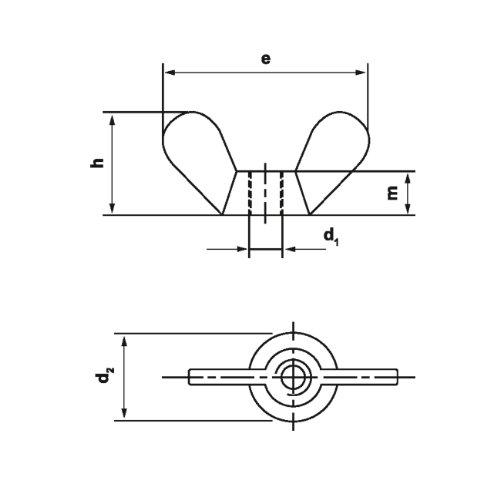 Dresselhaus - Tuercas de mariposa (núcleo niquelado, DIN 315 M4 - M20), 0/0600/001/5,0/ / /01