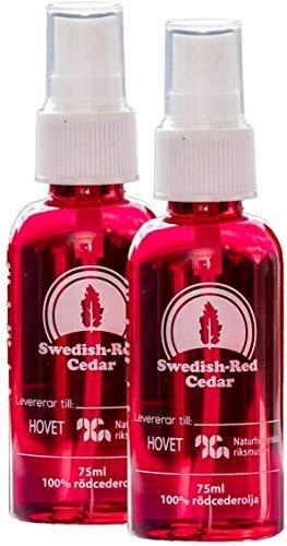 Aceite de cedro rojo sueco en spray, no tóxico, 100 % puro y natural, repelente de polillas, escarabajos de alfombra, pececillos de plata, cucarachas e insectos, 2 botes de 75 ml