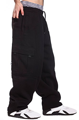 Mens Fleece Cargo Sweatpants, X-Large, Black